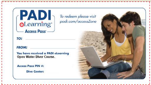 PADI eLearning gift certificate