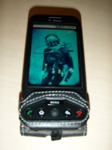Google G1 with scuba diving digital decor