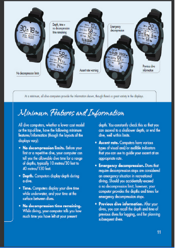 sample page from how to use and choose dive computers