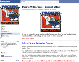 Pacific Wilderness Facebook Special Offer Page April 2011