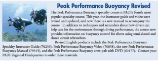 new PADI Peak Performance Buoyancy book and DVD
