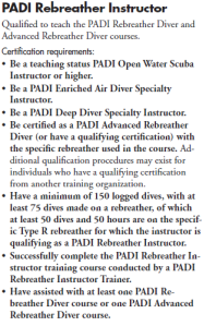 PADI Rebreather Instructor Specialty Course Requirements