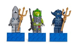 lego atlantis scuba diver magnet set of three figures