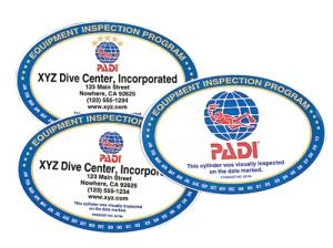 PADI custom tank inspection decals