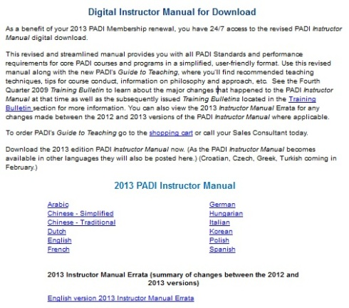 PADI Instructor Manual Download Options