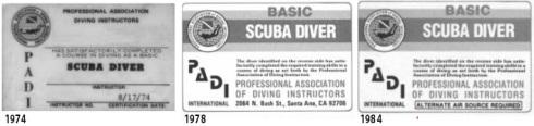 Basic Scuba Diver PADI card examples and explaination