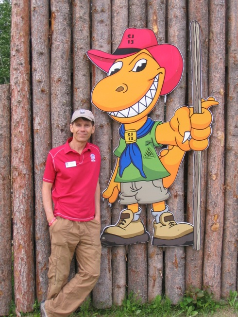 PADI Canada's Randy Giles with Albert - The Albertasaurus, Mascot of 2013 Scouts Canada Jamboree in Alberta Canada