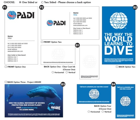 order PADI business cards