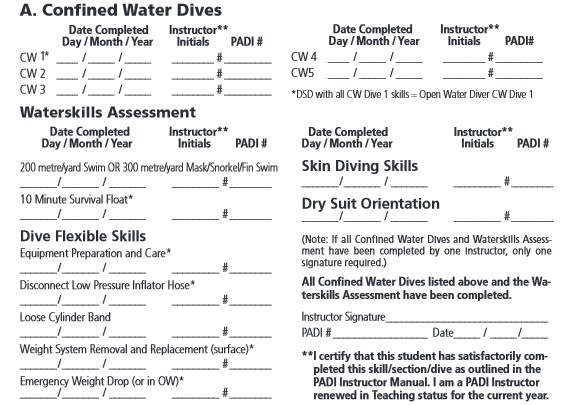 Open Water Referral form - confined water
