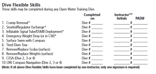 PADI Open Water Referral form - crop