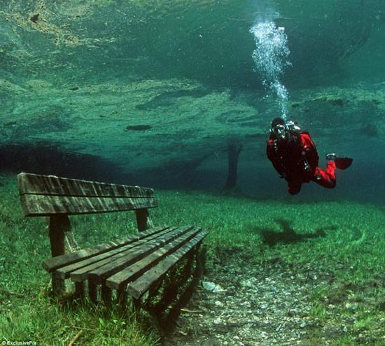 Green Lake Austria underwater park bench and diver