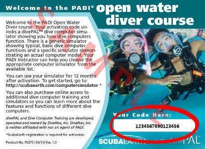 PADI  divePAL Dive Simulator Access Card (back)