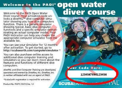 PADI  divePAL Dive Simulator Access Card (back)