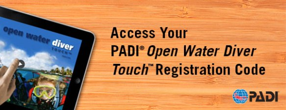 PADI Touch access registration code banner