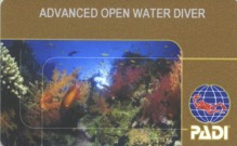 PADI Advanced card
