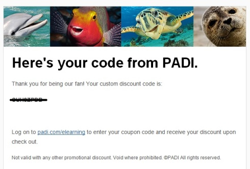 PADI Refer a Friend code