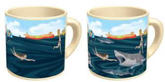 heat sensitive color changing shark mug