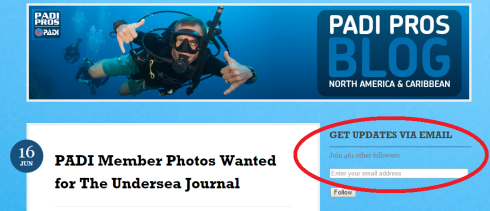 subscribe to the PADI Pro Blog
