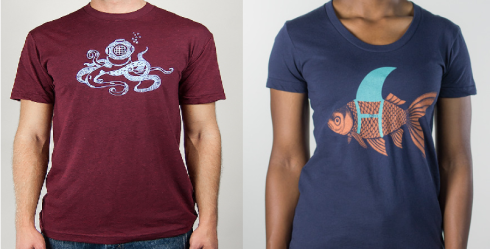 Octopus diver and goldfish shark fin tees