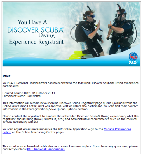 PADI Discover Scuba pre registration confirmation email