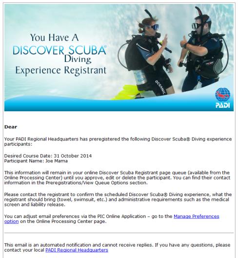 PADI Discover Scuba pre registration confirmation email