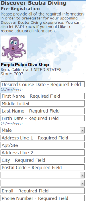 PADI Discover Scuba pre registration online form