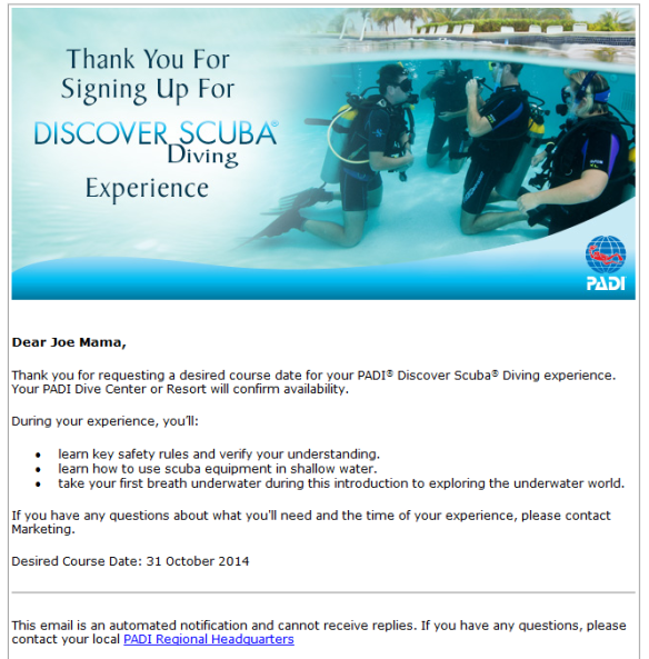 Discover Scuba Diving pre registration email