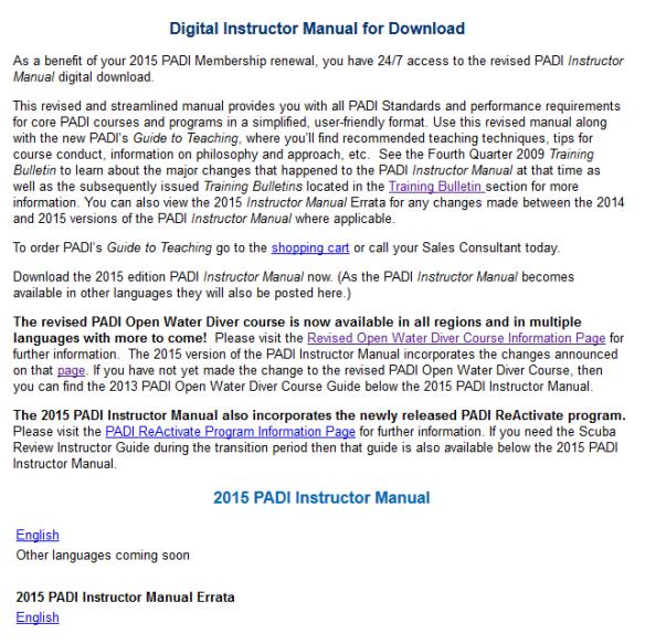 download 2015 PADI instructor manual