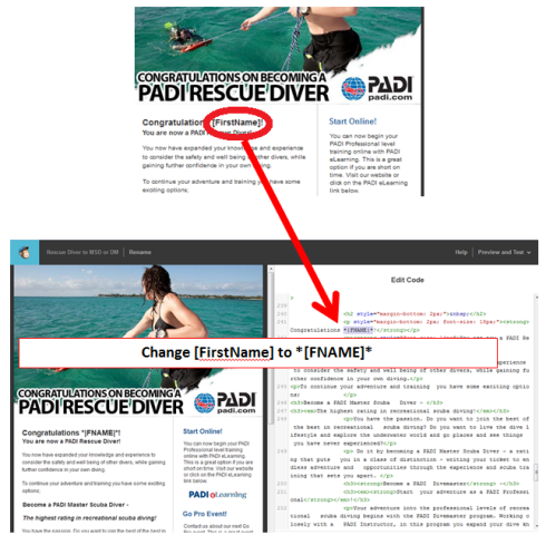 using PADI email templates with Mail Chimp