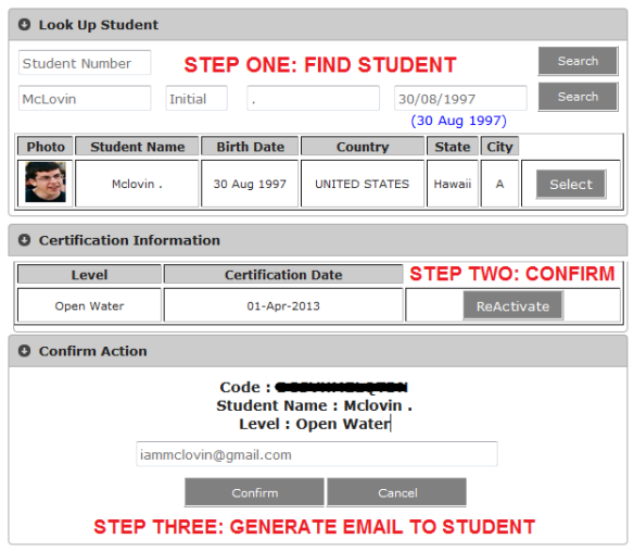Send ReActivate code to student PADI