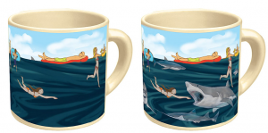 surprise shark mug appears when hot liquid added
