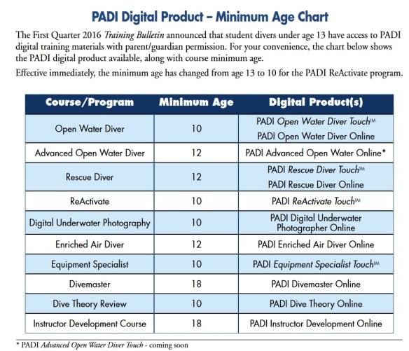 Minimum age for PADI courses