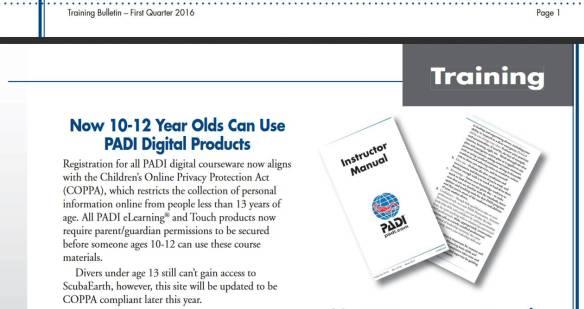 Minimum age limits for PADI digital produts