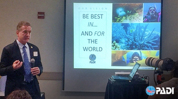 PADI CEO Drew Richardson speaks at Blue Vision Summit